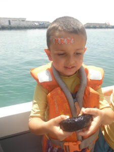 Holding the sea cucumber before gently releasing it out to sea